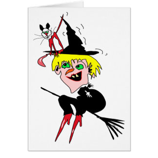 witch n cat greeting card