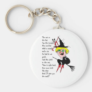witch n cat with poem basic round button keychain