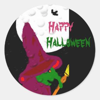 Witch of the night classic round sticker