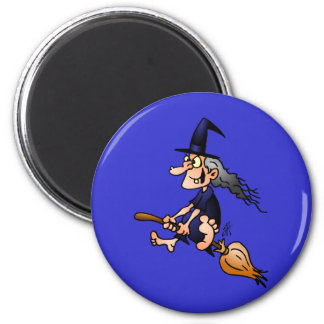 Witch on a broom 2 inch round magnet