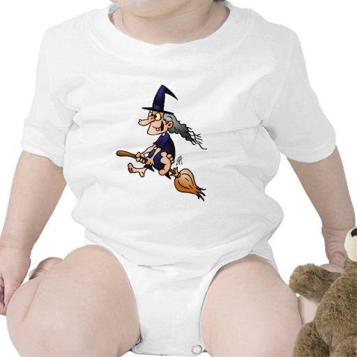 Witch on a broom bodysuit