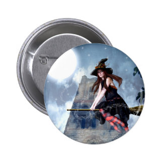 Witch on a Broom (Button)