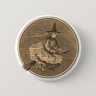 Witch on a Broom Button
