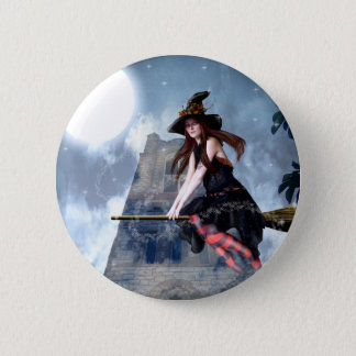 Witch on a Broom (Button) Pinback Button