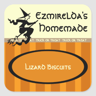 Witch on a Broom Canning Label - Halloween Square Sticker