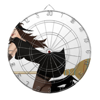 Witch on a Broom Dartboard