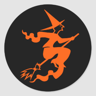 Witch on a Broom Fun Halloween Party Favor Sticker
