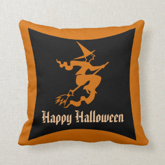 Witch on a Broom Halloween Throw Pillow