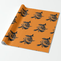 WITCH ON A BROOM HALLOWEEN Wrapping Paper