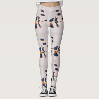 witch on a broom leggings by horacio