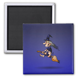Witch on a broom magnet