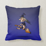 Witch on a broom pillow