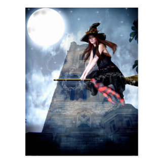 Witch on a Broom (Postcard)