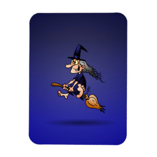 Witch on a broom rectangular magnet