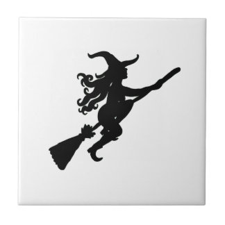 Witch on a Broom Silhouette Ceramic Tile