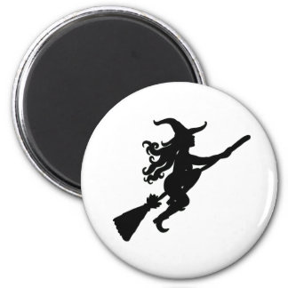 Witch on a Broom Silhouette Magnet Refrigerator Magnets