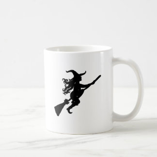 Witch on a Broom Silhouette Mugs