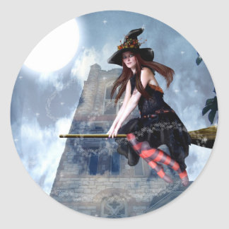 Witch on a Broom (Stickers) Classic Round Sticker