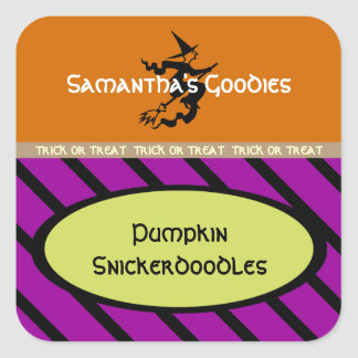Witch on a Broom Treat Label Square Sticker