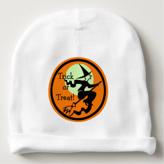 Witch on a Broom Trick or Treat Baby Beanie