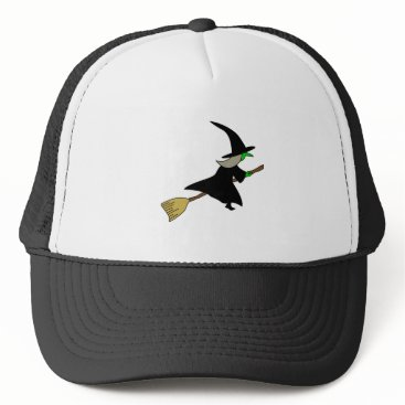 Halloween Themed Witch on a Broom Trucker Hat