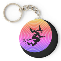 Witch on a broomstick, black moon and weird sky keychain