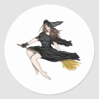 Witch on a Broomstick Classic Round Sticker