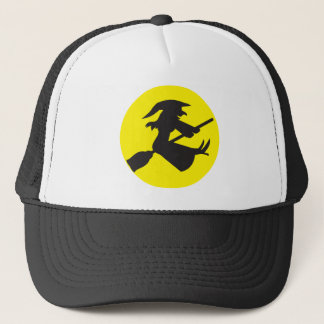 WITCH on a Broomstick HALLOWEEN design Trucker Hat