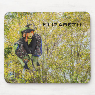 Witch on a Broomstick Surveying Her Domain Mouse Pad