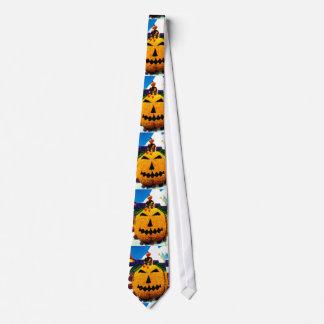 Witch on a pumpkin neck tie