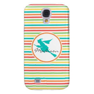 Witch on Bright Rainbow Stripes Samsung Galaxy S4 Cases