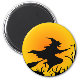 Witch On Broom 2 Inch Round Magnet
