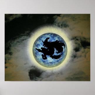Witch On Broom Blue Full Moon Halloween Print