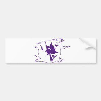 Witch on Broom Car Bumper Sticker