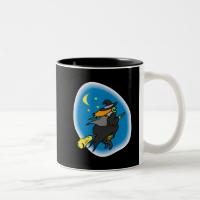 Witch on broom coffee mugs
