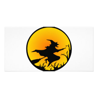 Witch On Broom Customized Photo Card