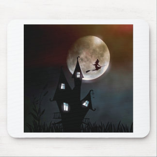 Witch on Broom Flying Over Your House Mouse Pad
