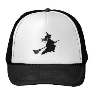 Witch On Broom Trucker Hat