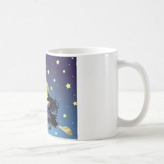 witch on broom mugs