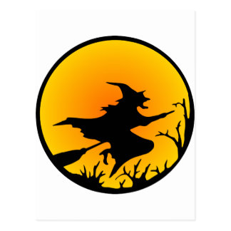 Witch On Broom Post Card