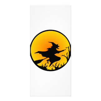 Witch On Broom Rack Card Template