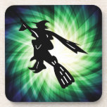 Witch on Broom Silhouette Beverage Coasters