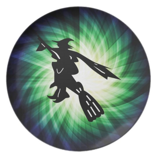 Witch on Broom Silhouette Melamine Plate