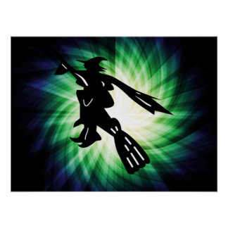 Witch on Broom Silhouette Poster