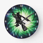 Witch on Broom Silhouette Wallclocks