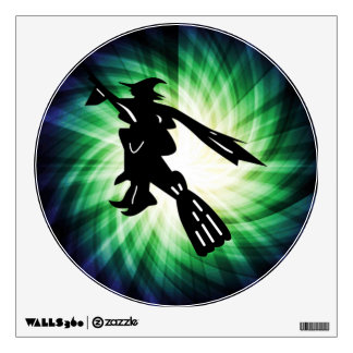 Witch on Broom Silhouette Wall Decals