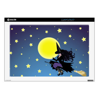 witch on broom laptop skin