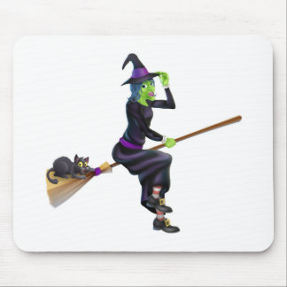 Witch on Broom with Black Cat Mouse Pad
