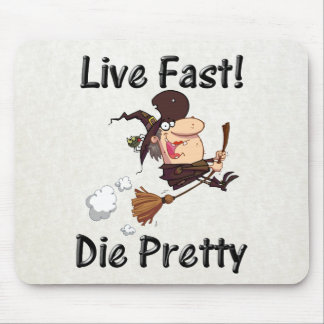 witch on broom with text mouse pad