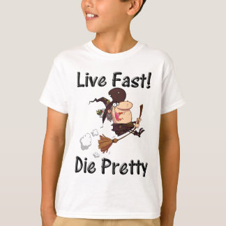 witch on broom with text T-Shirt